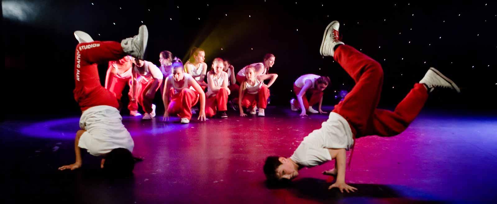 A hip hop dance performance at the Aviv Dance Studios' annual show