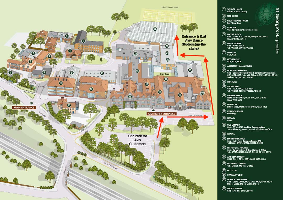 Map showing the route that Aviv Dance customers should take to access the Harpenden school